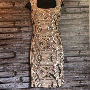 Cache Sequin Sheath Dress